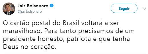 Jair Bolsonaro Twitter honesto patriota deus no coração Donald Trump